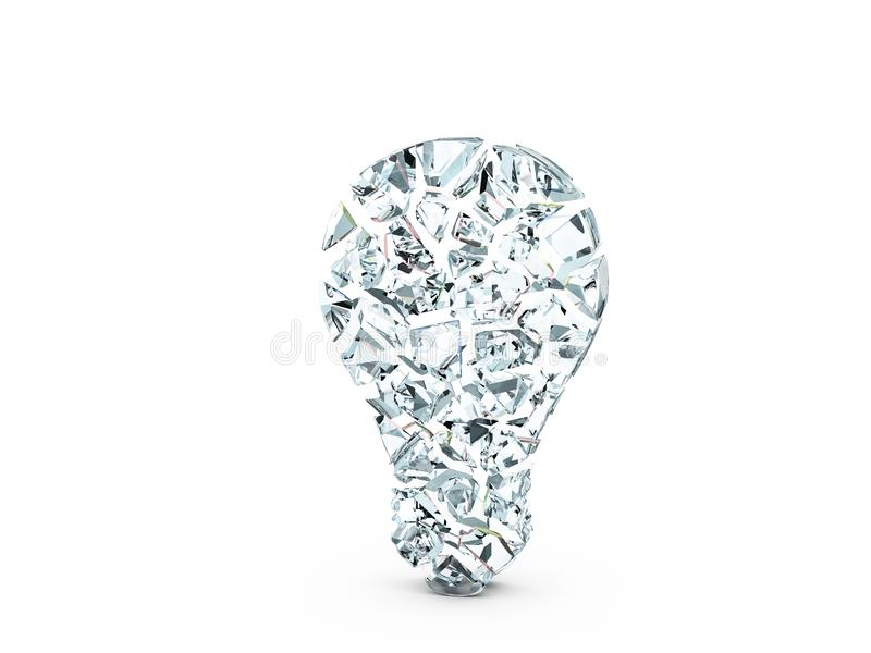 Broken glass bulb symbol. On a white background. 3d illustration stock illustration