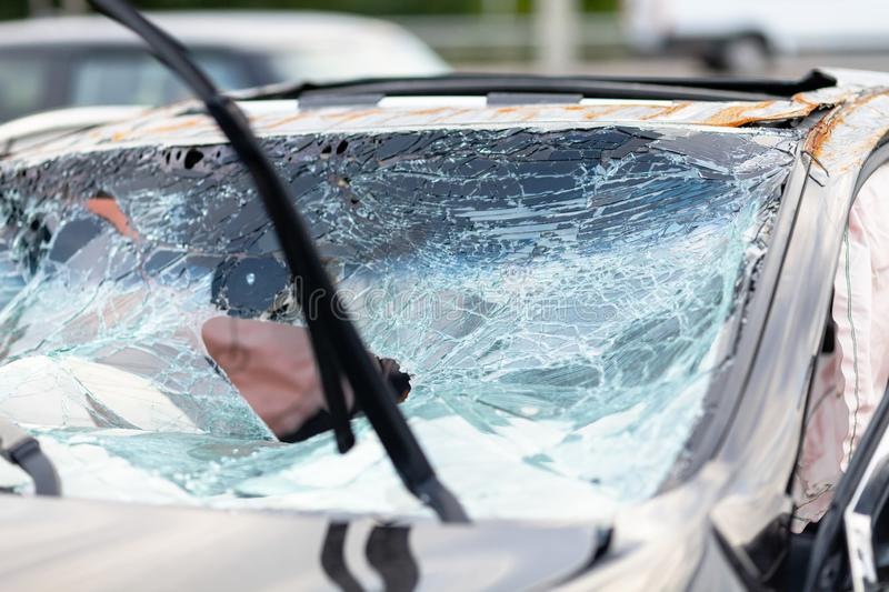 Broken glass and crack in car after traffic accident.  royalty free stock photography