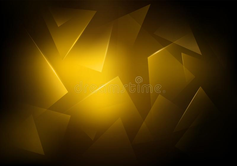 Broken Glass Dark Background. Golden Glowing Texture. Explosion, Destruction Cracked Surface Illustration. Abstract 3d Bg for Dj Party Posters, Banners or vector illustration
