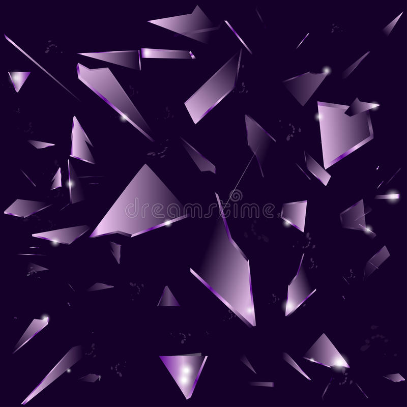 Broken glass on the dark purple background vector illustration