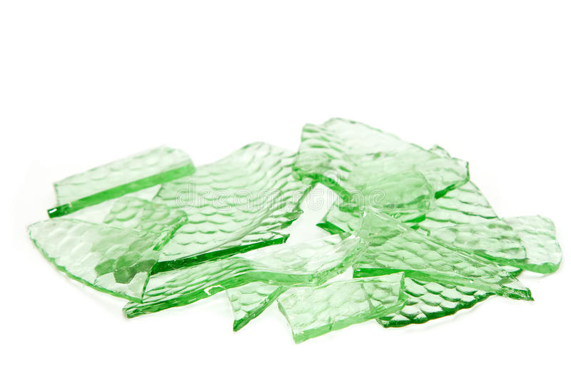 Broken glass dish pieces stock image