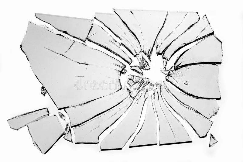 Broken glass. Isolated on white background stock images