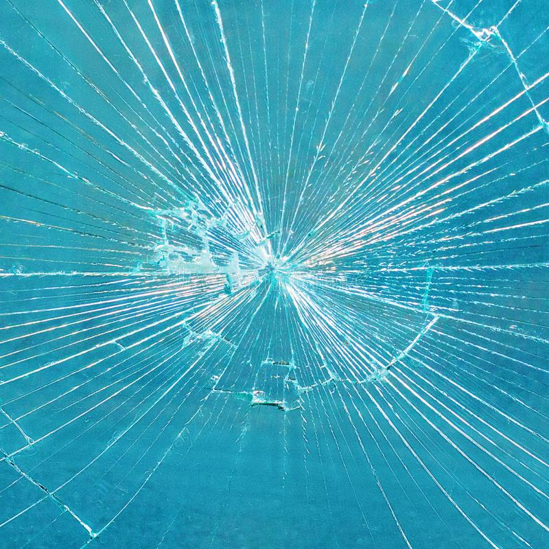 Broken Glass Pane blue window in the mall royalty free stock images