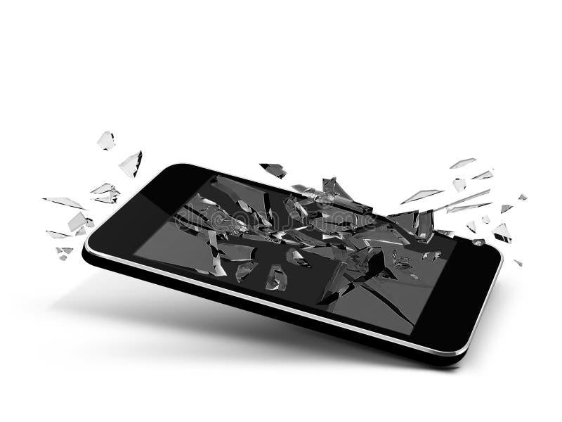 Broken glass phone. Cellular design isolated blsack