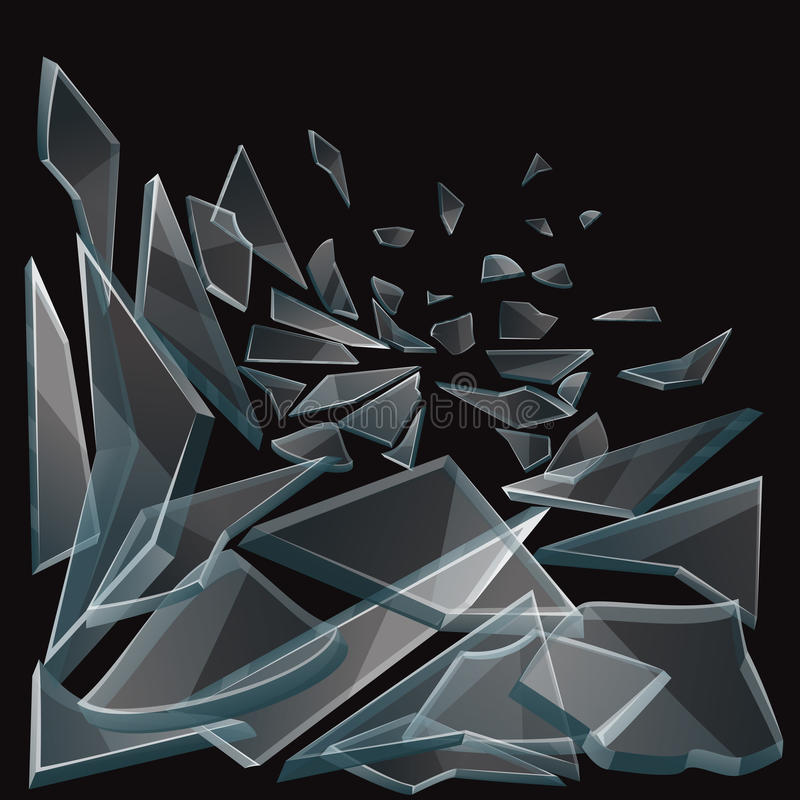 Broken glass pieces flow vector illustration. Set of glass pieces on black background and damage glass transparent stock illustration