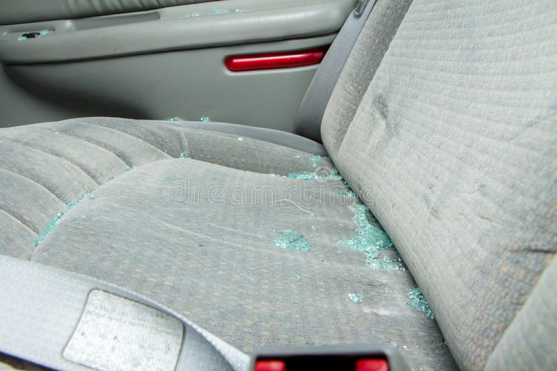 Download Broken Glass Sittin On A Seat Of A Car Stock Photo - Image: 31880114