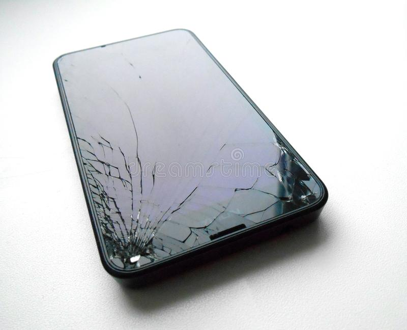 Broken glass smartphone. White isolated stock images