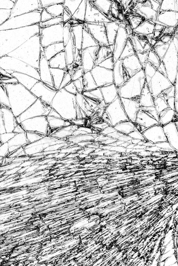 Broken glass texture, cracked in the glass. royalty free stock image
