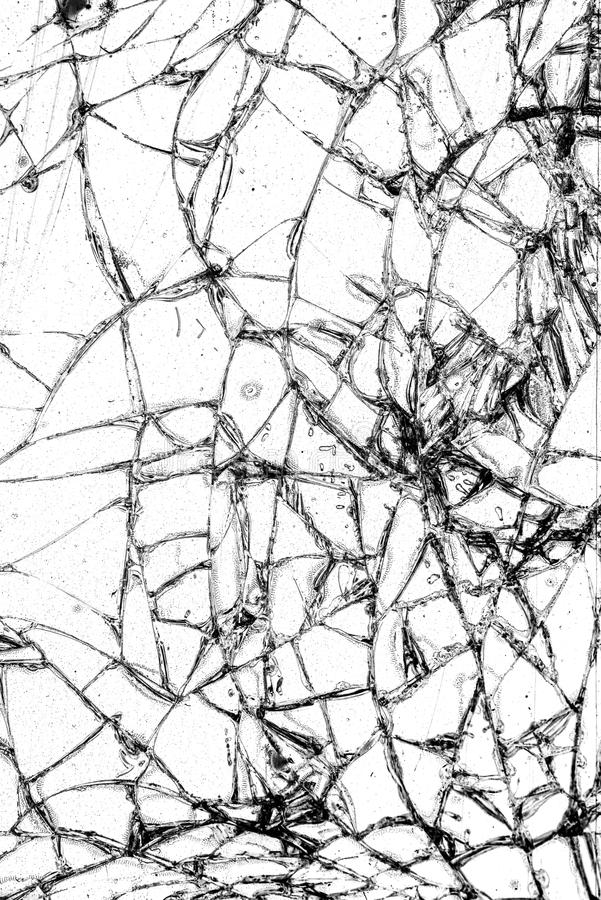 Broken glass texture, cracked in the glass. stock photography
