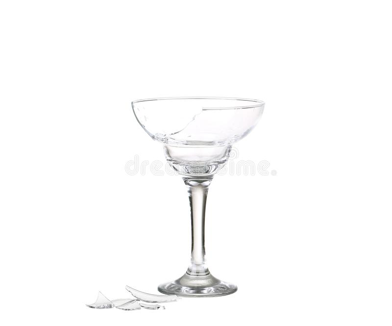 Broken glass on a white background . Isolated royalty free stock image