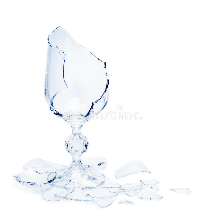 Broken glass. On white background. Conceptual photo royalty free stock images