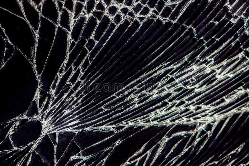 Broken glass - white lines on black background, design element.  stock image