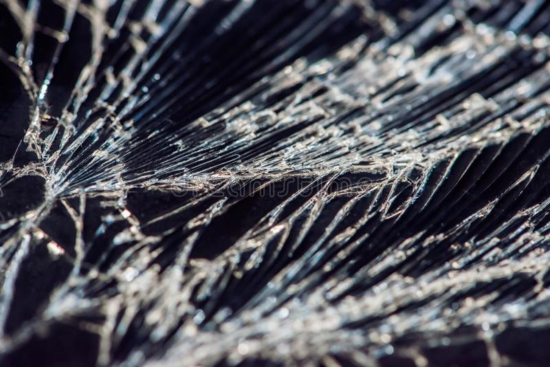 Broken glass - white lines on black background, design element.  stock photos