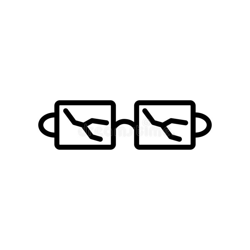 Broken glasses icon vector isolated on white background, Broken. Glasses transparent sign , linear and stroke elements in outline style vector illustration