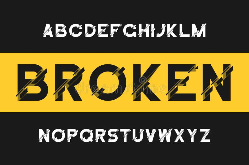 Broken glitch font. Modern sans-serif alphabet with distortion. Vector font with broken. royalty free illustration