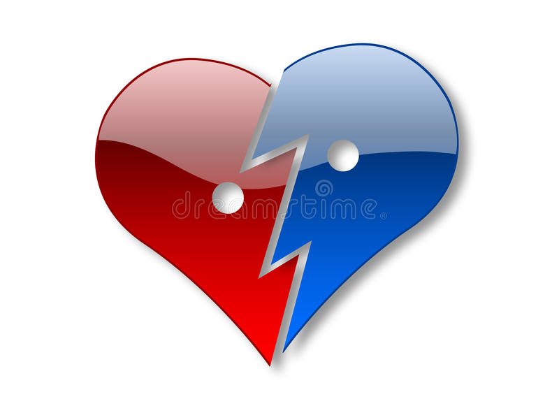 Broken heart. Two halves of glossy heart illustration isolated over white background stock illustration