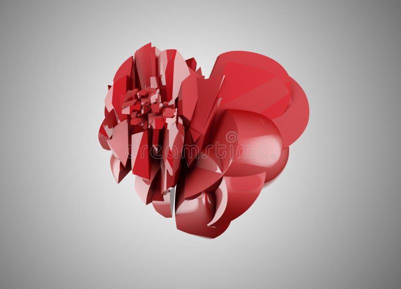 Broken heart. Red broken heart on gray stock illustration