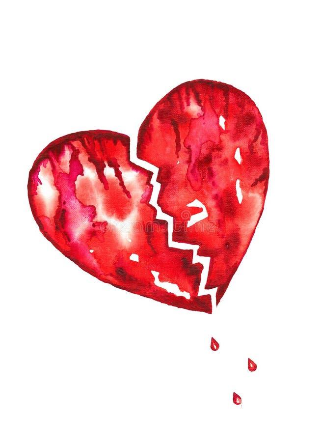 Broken Heart With Blood Droplets Watercolor. Red broken bleeding heart with tears of blood droplets watercolor vector illustration