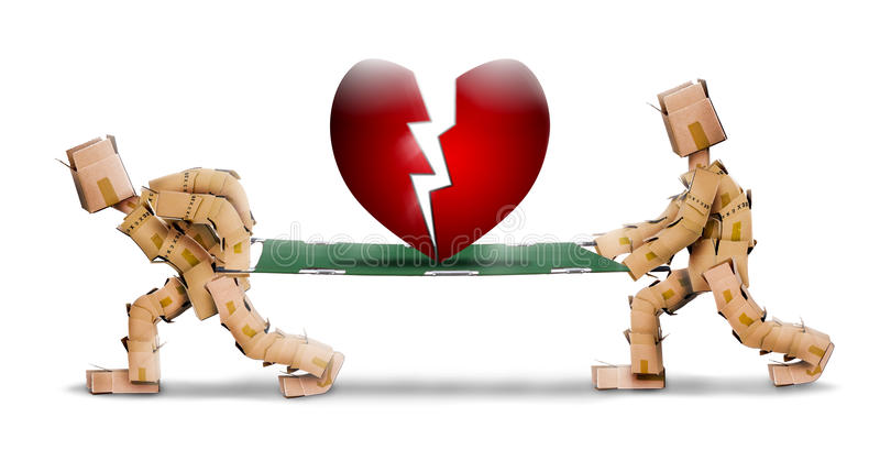 Broken heart carried on a stretcher by box characters vector illustration
