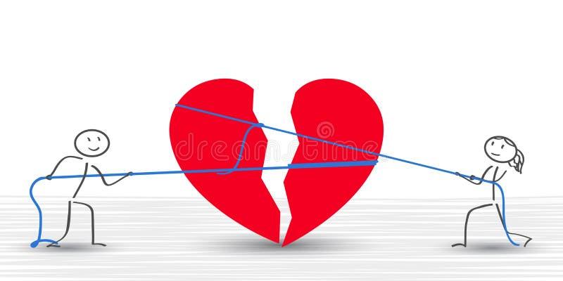 Broken heart connect a couple -. Stock stock illustration