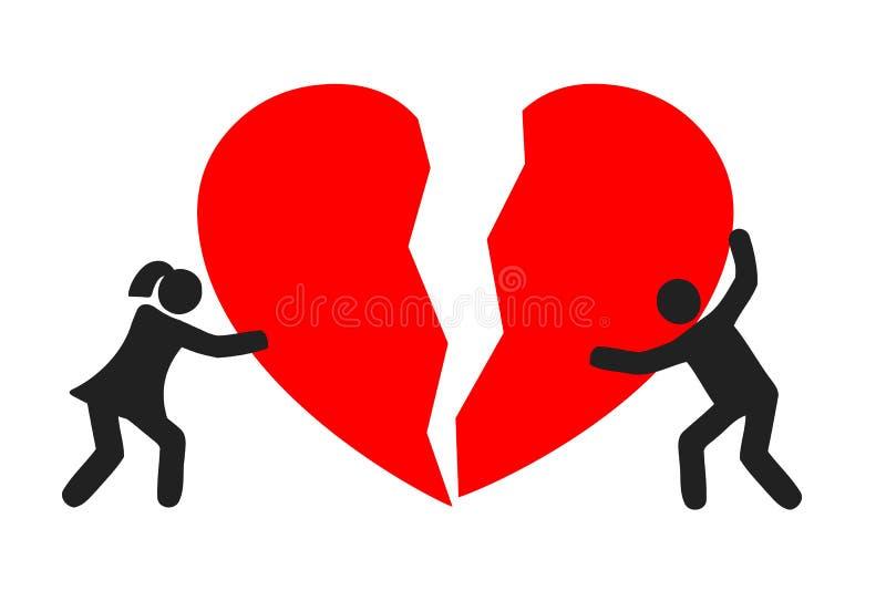 Broken heart connect a couple -. Stock vector illustration