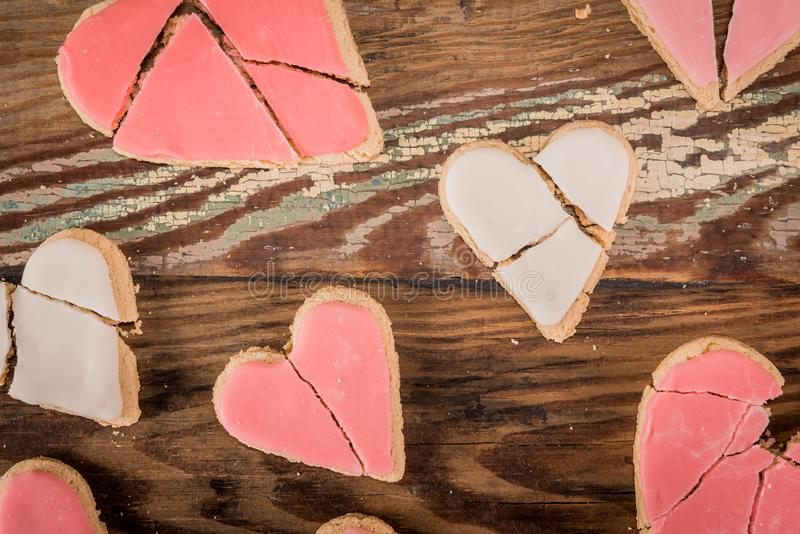 Broken Heart Cookies On Table Top royalty free stock photo