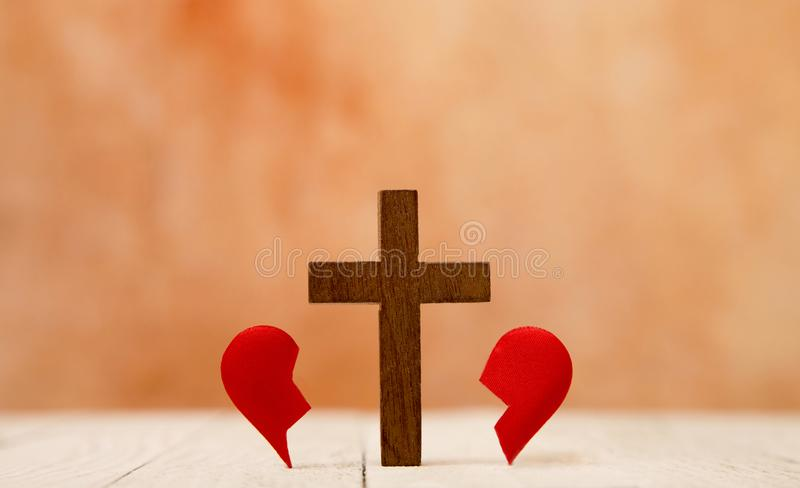 Broken Heart and the Cross royalty free stock photography