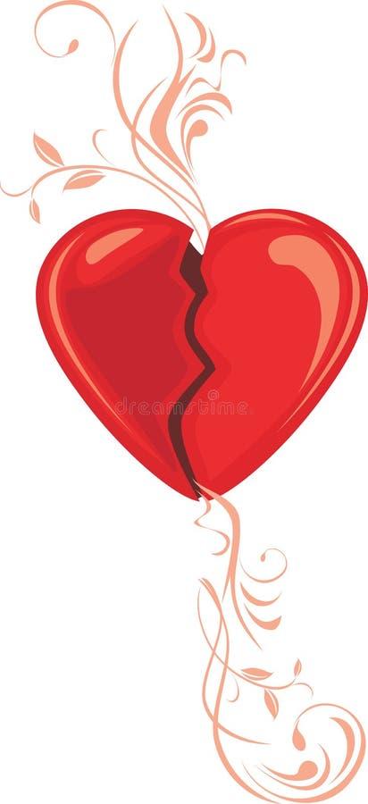Broken heart. Decorative element for design royalty free stock image