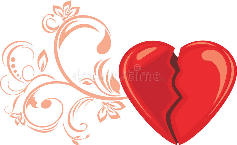 Broken heart. Decorative element for design isolated on white royalty free stock photo
