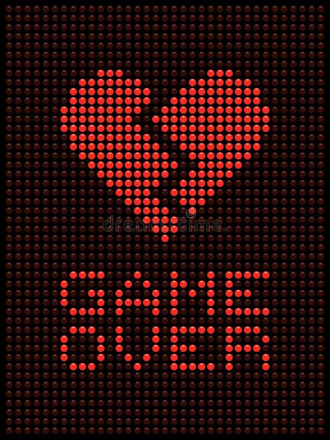 Broken Heart, Divorce / Break Up LED Lights. Image of a broken heart displayed on a matrix of red LED lights stock illustration