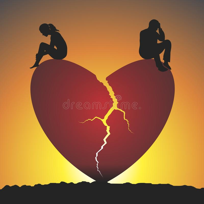 Broken heart. Failed love. Sunset relations. Vector format