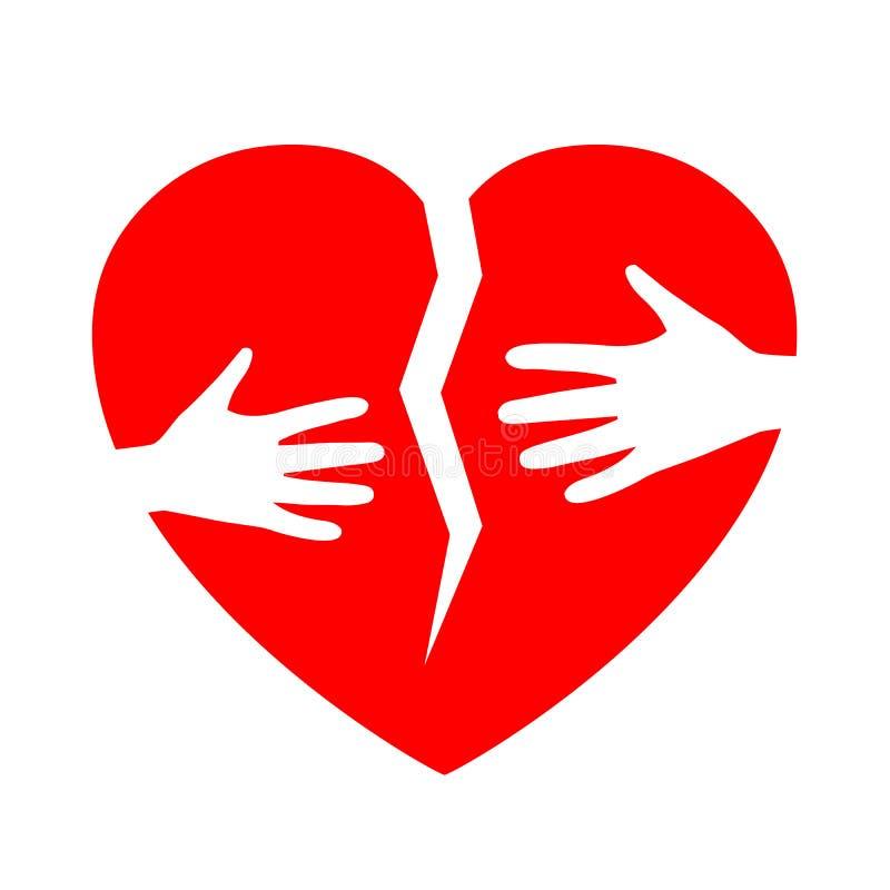 Broken heart with hands - vector. Broken heart with hands – stock vector stock illustration