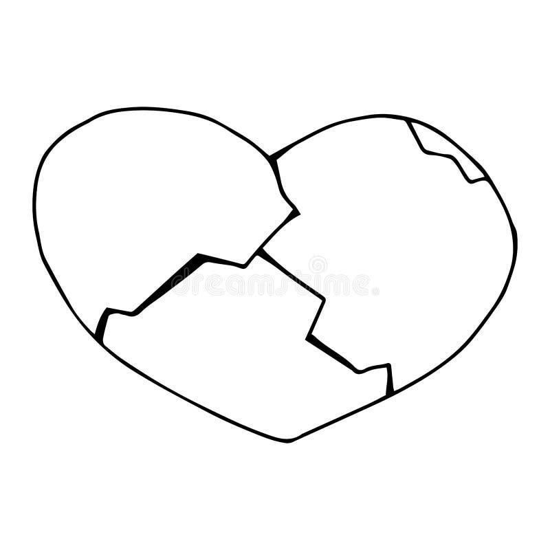 Broken heart icon. Vector illustration of a cracked heart. Hand drawn heart logo. stock illustration