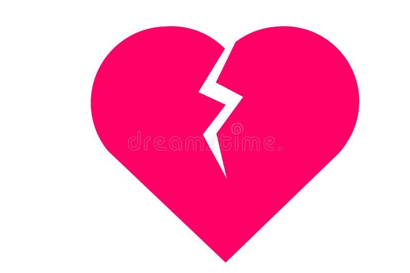 Broken heart icon on white background. Broken heart icon white background love sign symbol simple pink logo wedding life design drawing creating concept modern stock photography