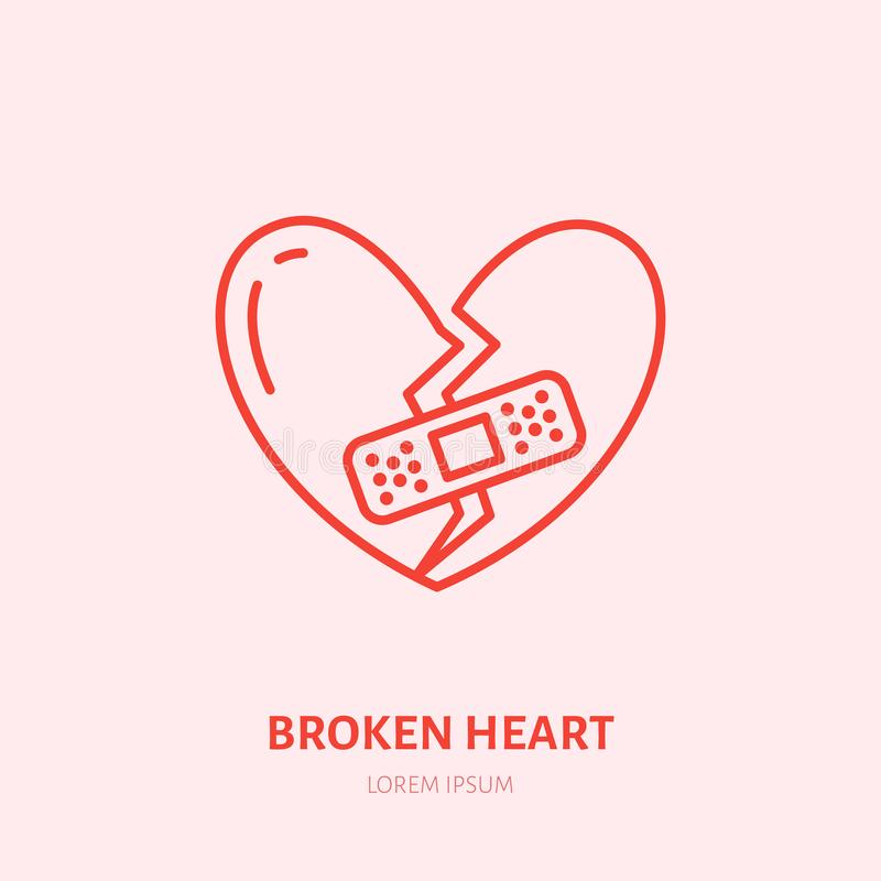 Broken heart illustration. Heartbreak flat line icon, relationship problem. Break up sign stock illustration