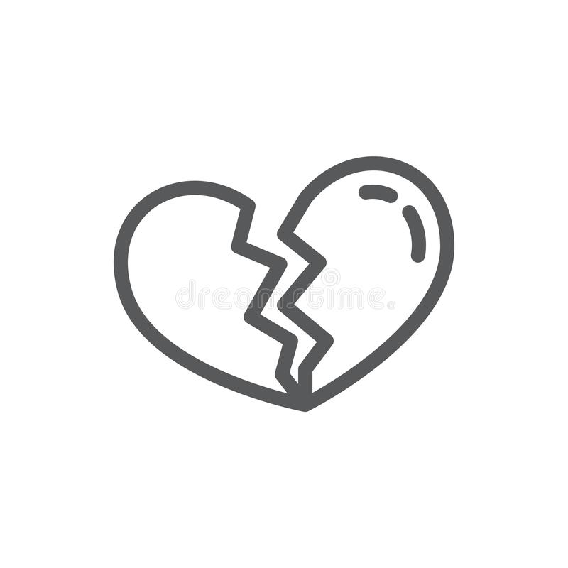Broken heart line icon with editable stroke - outline symbol of halved heart shape. In vector illustration for divorce or unrequited love concept isolated on royalty free illustration