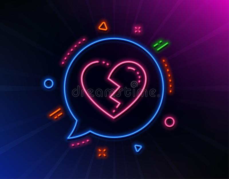 Broken heart line icon. Love crush sign. Vector. Broken heart line icon. Neon laser lights. Love crush sign. Divorce symbol. Glow laser speech bubble. Neon stock illustration