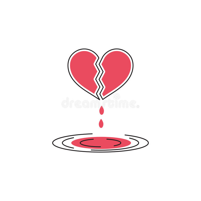 Broken heart line icon royalty free illustration