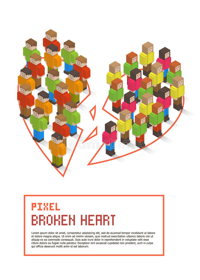 Broken heart made up of isometric pixel art people royalty free illustration