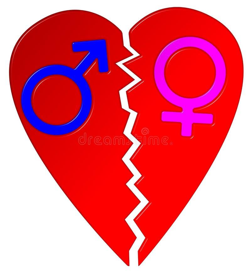Broken Heart Male Female Symbols Stock Photo Illustration Of