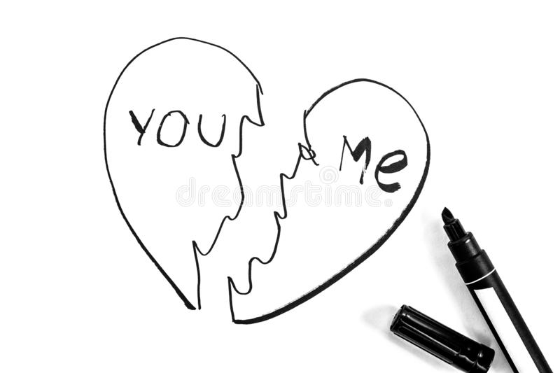 Broken heart is painted with  marker, black and white photo vector illustration