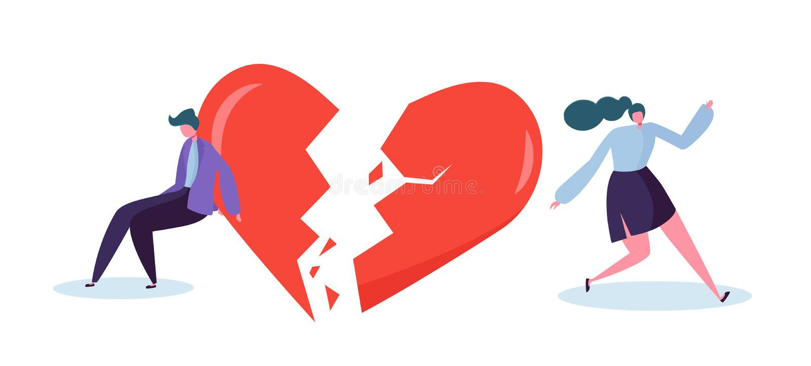 Broken Heart People Lover Concept. Sad Young Man and Woman Character Suspect Partner Jealousy. Crisis Family Relationship royalty free illustration