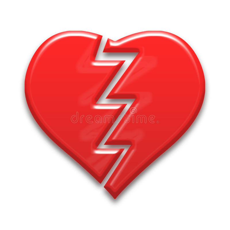 Broken heart. Red color with stock illustration