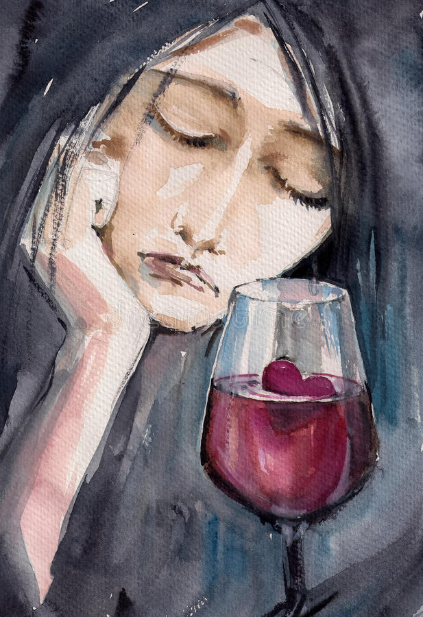 Broken heart. Sad woman with small red heart in glass of wine.Picture created with watercolors royalty free illustration