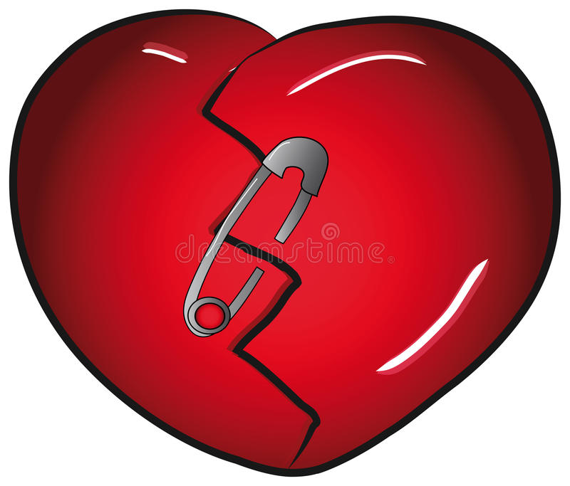 broken heart with safety pin stock vector illustration of clip rh dreamstime com free clipart broken heart clip art broken heart