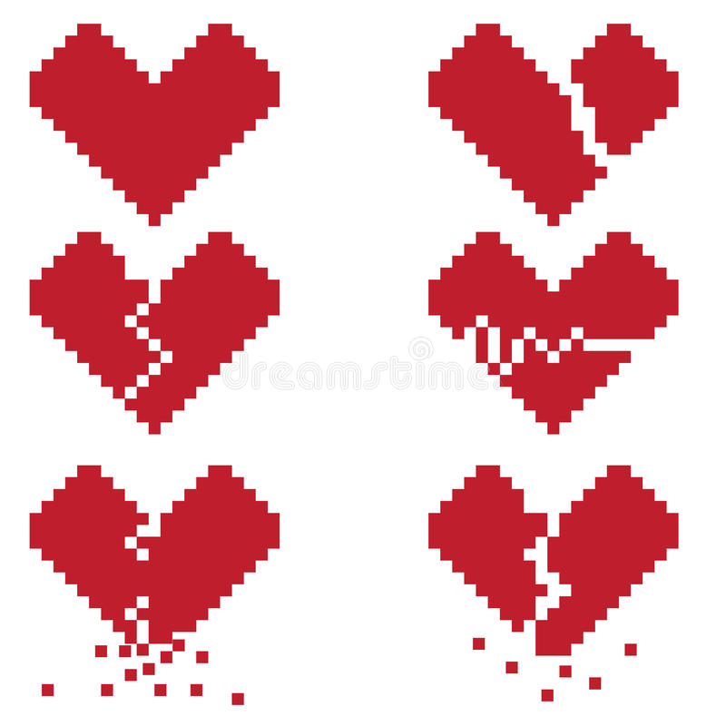 A broken heart is a set of six pixel icons with broken hearts royalty free illustration