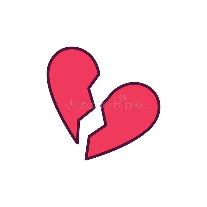 Broken Heart vector creative icon on white background. Broken Heart vector creative icon or design element on white background royalty free illustration