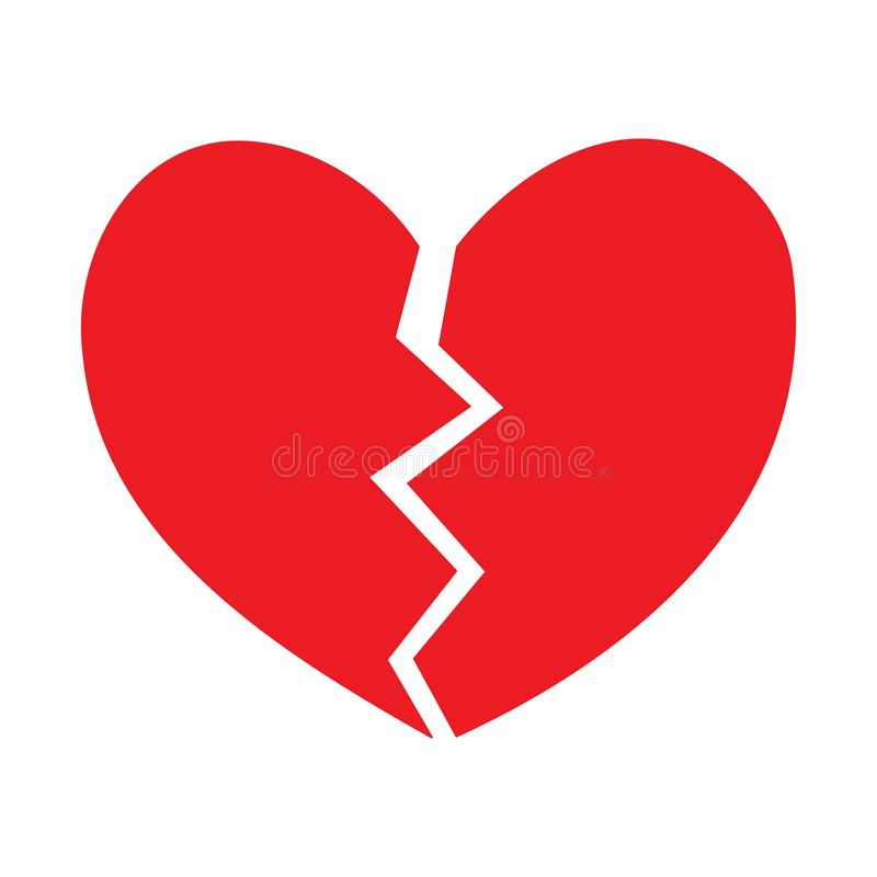 Broken Heart vector icon. red broken heart isolated illustration stock illustration