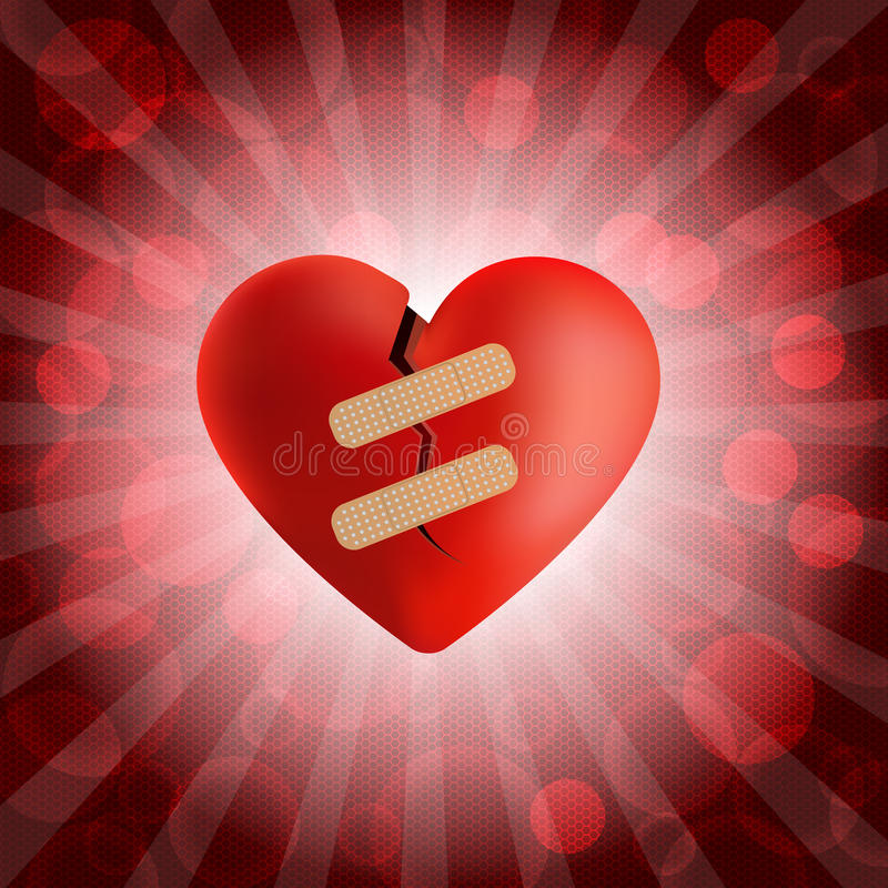 Free Broken Heart With Plaster And Bubble Background Royalty Free Stock Image - 34328906