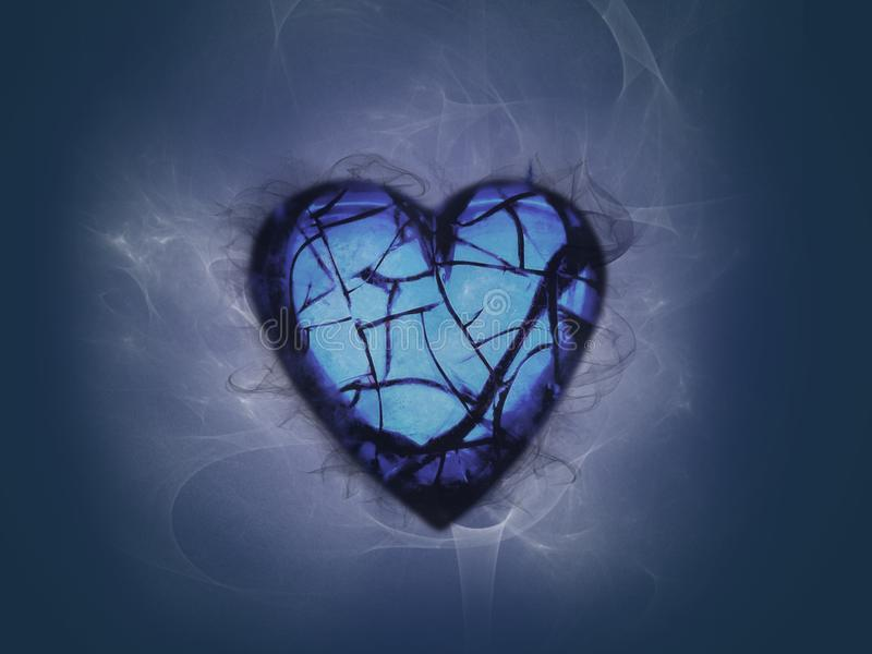 Broken hearted surrounded with smoke stock illustration